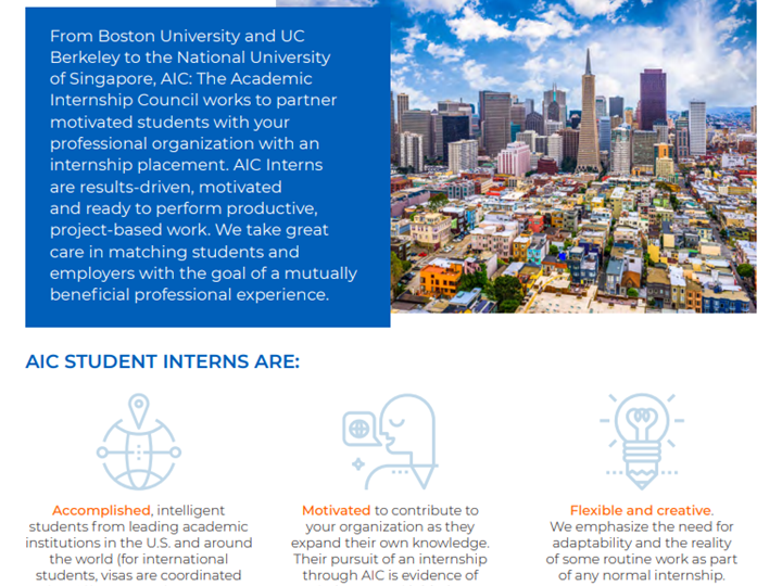 Add Talent to Your Office - Hire An Intern From AIC